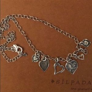 Silpada Sterling Silver Dangling Hearts Necklace